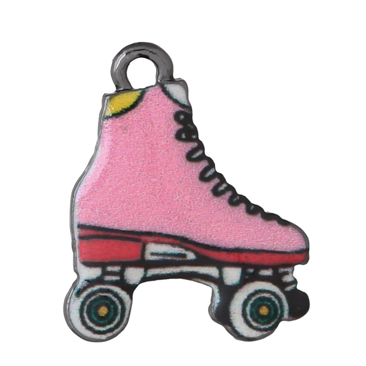 Roller skates buy nz - Doreenbeads Charm Pendants Roller Skates Gunmetal Multicolor Enamel 20mm 6 8 X
