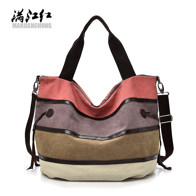 Women Canvas Bag Striped Handbags Laides patchwork Shoulder Bag New Sac A Main Femme De Marque Casual Bolsos Mujer Tote Bags exclusive limited women tote bag handbags high quality shoudler bags with hair ball ornaments sac a main femme de marque celebre