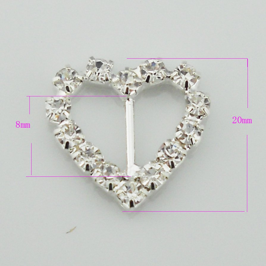 Sparkly Heart Rhinestone Buckle For Wedding Invitations BU006 08-in ...