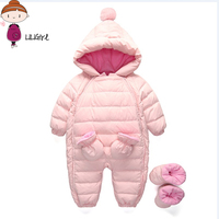 Baby Girl Romper Winter Boy Clothes 2017 Filler Duck Plush Keep Warm Clothes For Newborns Overalls