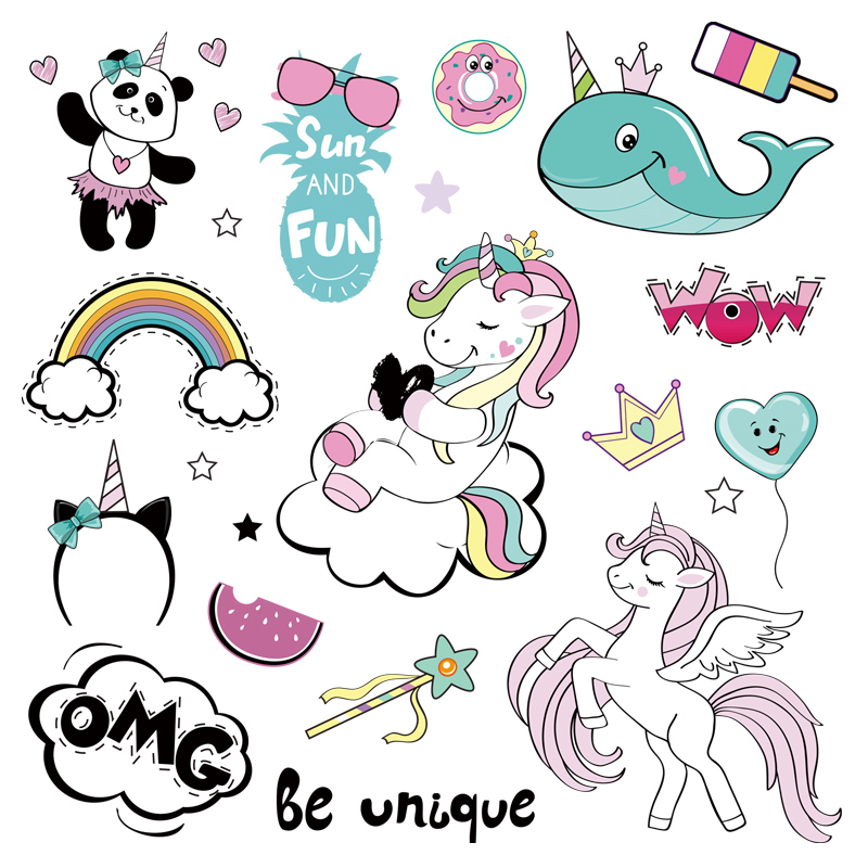 Unicorn And Pop Art Applique New Design Badges Clothing Deco Heat Transfer Washable Diy Accessory Patches For Clothes art