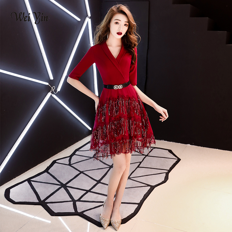 weiyin 2019 Wine Red   Cocktail     Dresses   Elegant V Neck Short Homecoming   Dress   Formal   Dress   Women Short Prom Gown WY1478