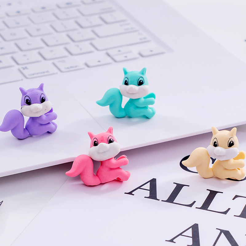 3 Pcs/lot Squirrel Eraser Cartoon Animal Writing Drawing Rubber Pencil Eraser Stationery For Kids Gifts School Supplies