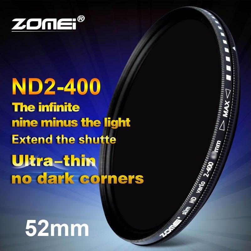 Zomei 52mm Fader Variable ND-Filter Einstellbar ND2 zu ND400 ND2-400 Neutral Density für Canon NIkon Hoya Sony Kamera Objektiv 52mm