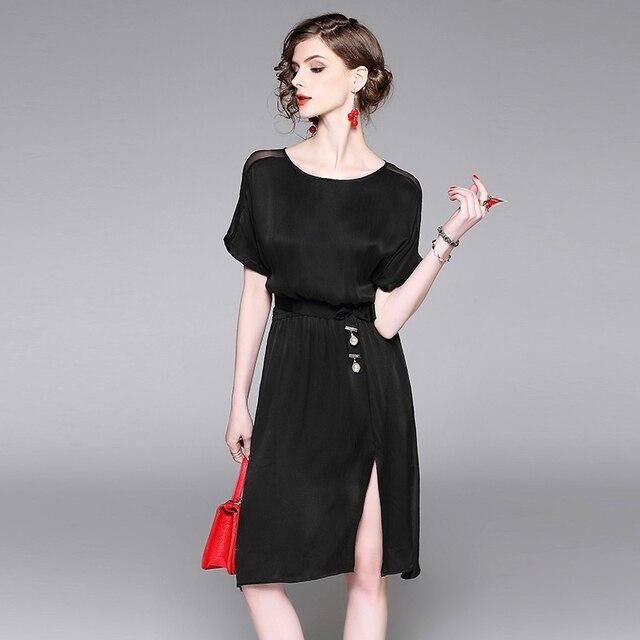 4665111ec Verano vestido de seda mujeres elegante vestido blanco negro lago verde  alta calidad del estilo de
