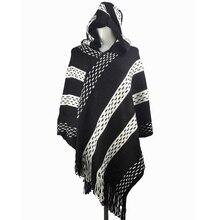 Boho, для девушек, черный, белый, с капюшоном, кардиганы, для женщин, осень, зима, вязанная акриловая накидка, без рукавов, пончо, свитер, PRY004
