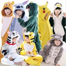 Childrens Pajamas for Boys Girls Unicorn Flannel Kids Stich Pijamas Set Animal Sleepwear Winter Onesies Kigurumi  4-12