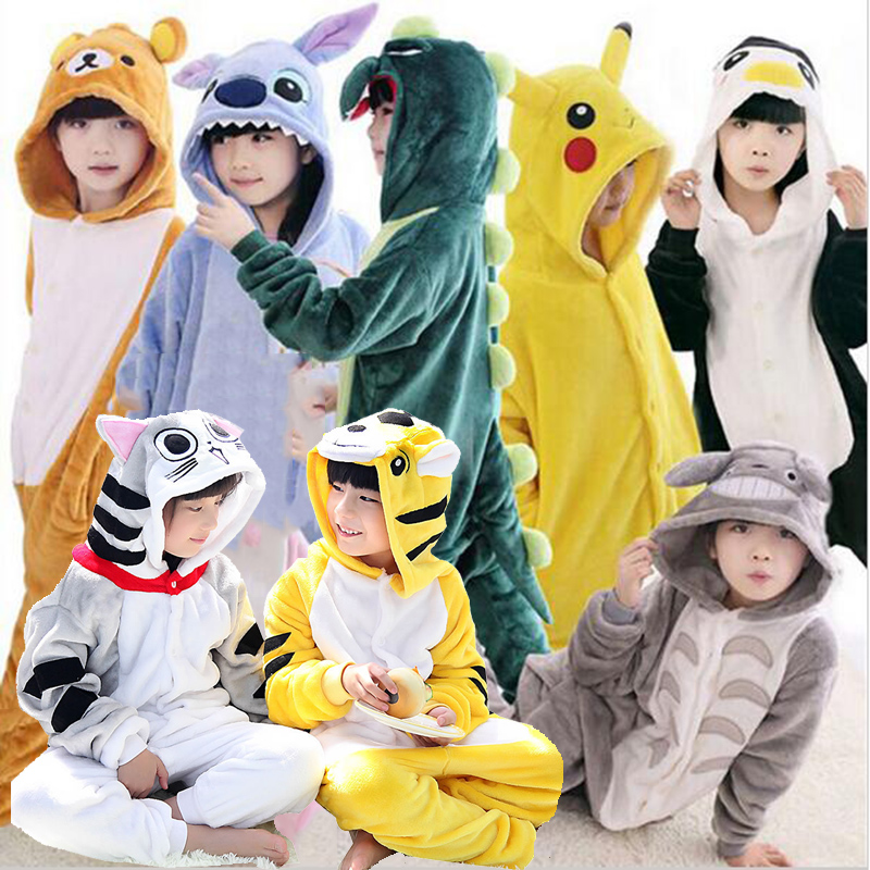 Children's   Pajamas   for Boys Girls Unicorn   Pajamas   Flannel Kids Stich Pijamas   Set   Animal Sleepwear Winter Onesies Kigurumi 4-12