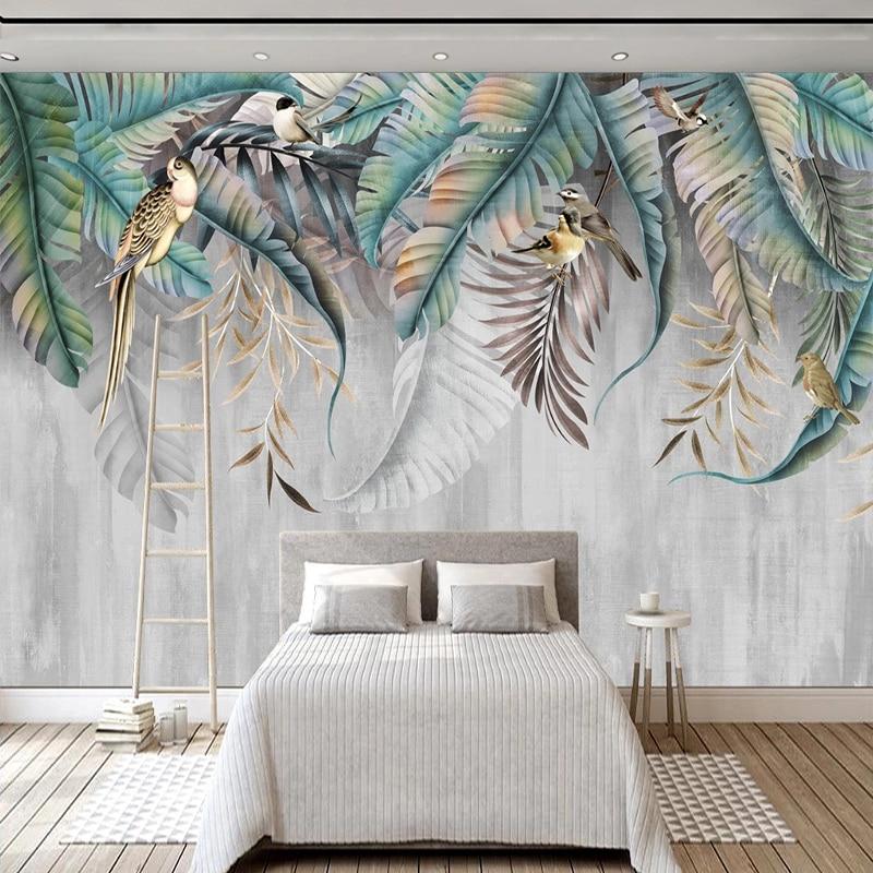 Papel tapiz personalizado de cualquier tamaño, Mural moderno de estilo nórdico 3D con hojas de plantas, foto de aves, Mural para pared, sala de estar, dormitorio, decoración del hogar con Fresco|Papeles pintados|   - AliExpress