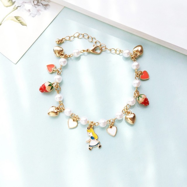 Kids S Gift Gold Color Heart Imatation Pearl Strawberry Charms Alice In Wonderland Bracelet