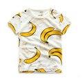 Novo 2016 Summer100 % Algodão Moda tops Estilo banana fruta melancia Crianças Camisas de T, Crianças Meninos Roupas, Roupas da menina da Criança