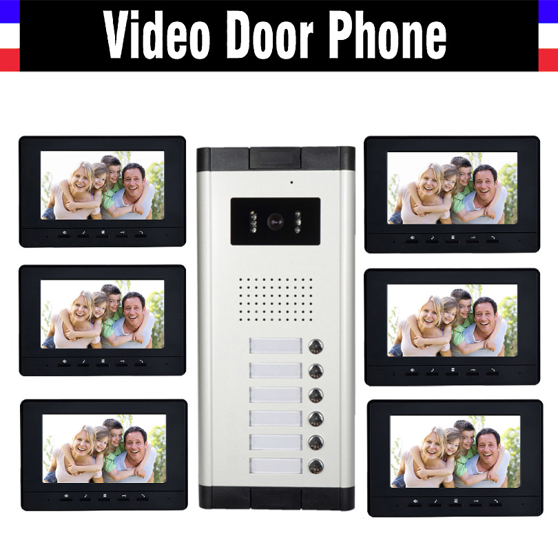 6 Units Apartment Video Intercom System 7 Inch Monitor Video Door Phone Intercom System Wired  Home Video Doorbell Kit
