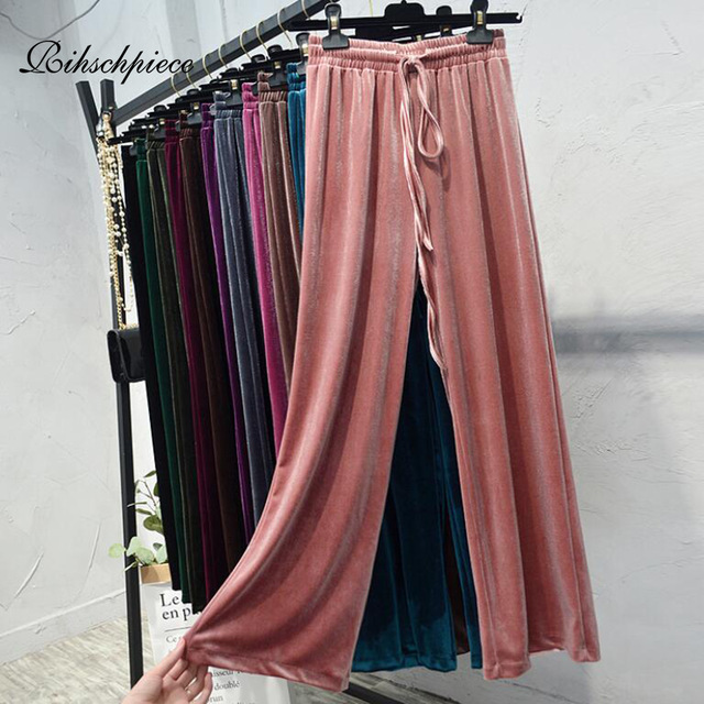Rihschpiece Winter Velvet Wide Leg Pants Women Elastic High Waist Trousers Spring Casual Loose Black Plus Size Pant RZF1557