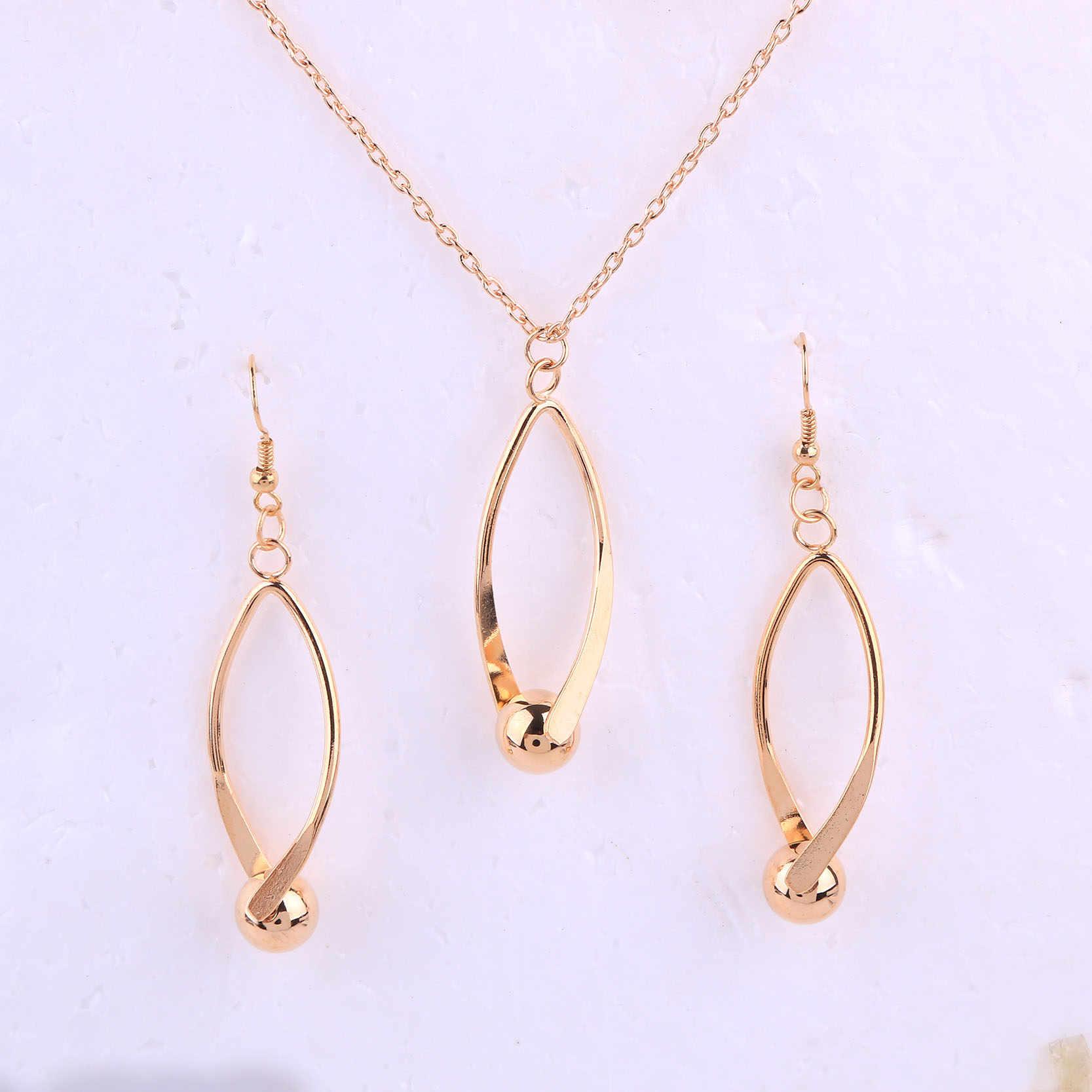 דובאי זהב צבע תכשיטי חלול החוצה בצורת קולר שרשרת עם עגיל סט לנשים