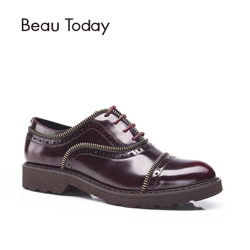 BeauToday Genuine Leather Oxfords Women Rock Metal Zipper Decoration Lace-Up Shoes Round Toe Patent Cowskin Brogue Flats A21008 qmn women crystal embellished natural suede brogue shoes women square toe platform oxfords shoes woman genuine leather flats