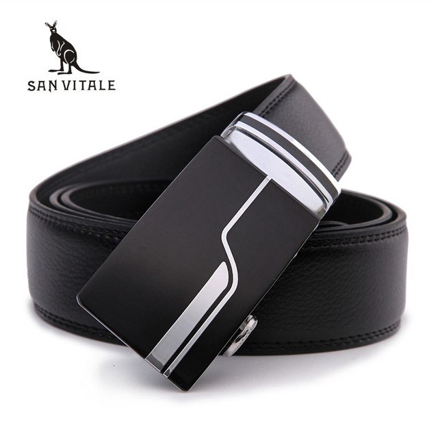 Мужская мода Аксессуары бренда ремни высокое качество натуральной кожи автоматической пряжки черный пояс для мужчин продажа бесплатная доставка