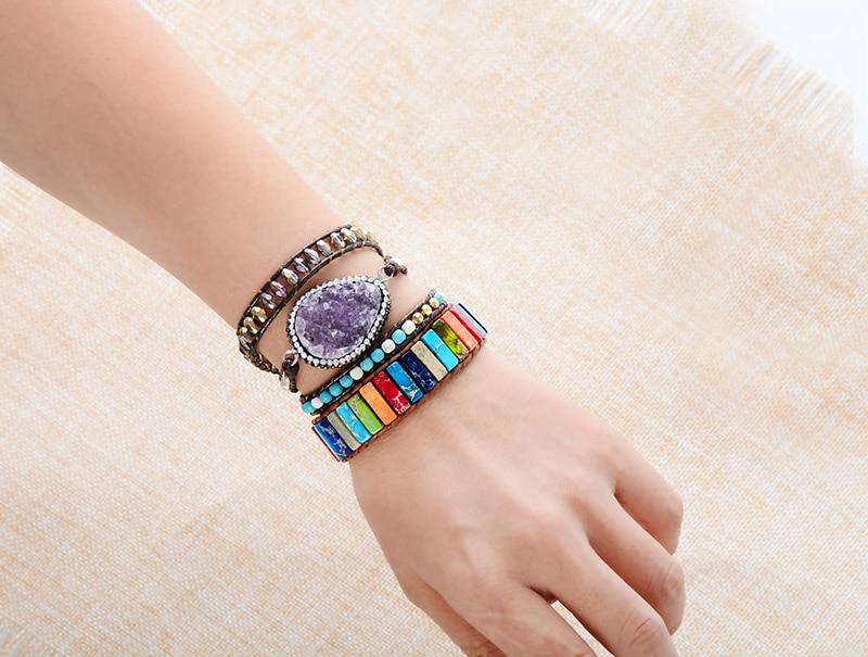 Chakra Bracelet Jewelry Handmade Multi Color Natural Stone Tube Beads Leather Wrap Bracelet Couples Bracelets Creative Gifts 2