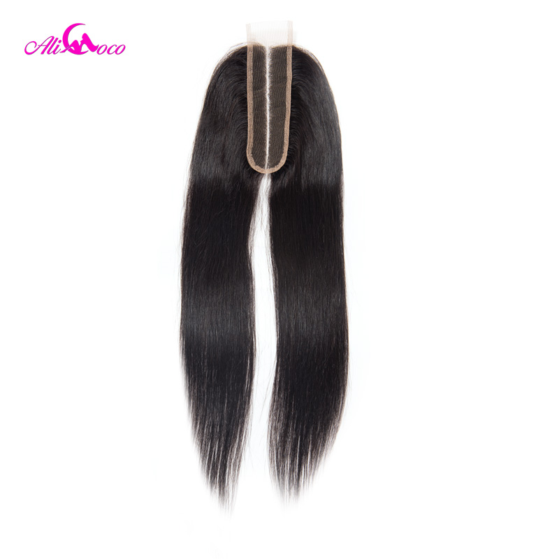 Image 2 - Ali Coco Brazilian Straight 2*6 Lace Closure Human Hair Lace Closure  Middle Part 8 20 Inch Natural Color Remy Hair-in Closures from Hair Extensions & Wigs