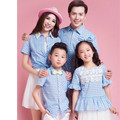 2017 summer family look mother daughter matching clothes outfits father and son blue plaid shirt girl bubble sleeve lace shirts