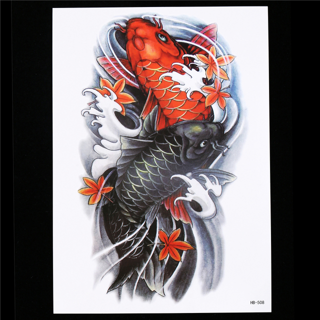 1pc Body Art Tattoo For Women Men Paint Waterproof Decal HB508 Vivid Lifelike Carp Fish Maple Leaf Temporary Tattoo Sticker