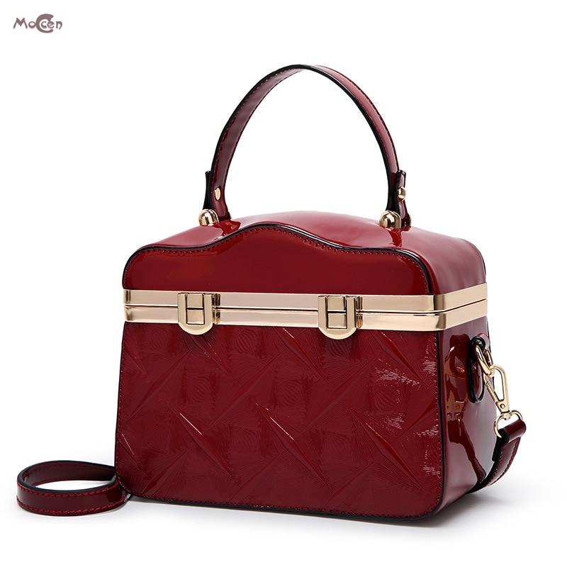 Moccen Trunk Shape Tote Bag Patent Leather Shoulder Bag For Women Ladies Bao Bao Designer Luxury Brand Satchel Bolsa Feminina patent leather handbag shoulder bag for women