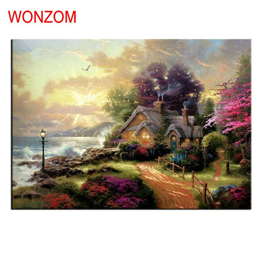 Wonderland Villa Oil Painting Coloring By Numbers Abstract Digital - Home Decor - Photo 1