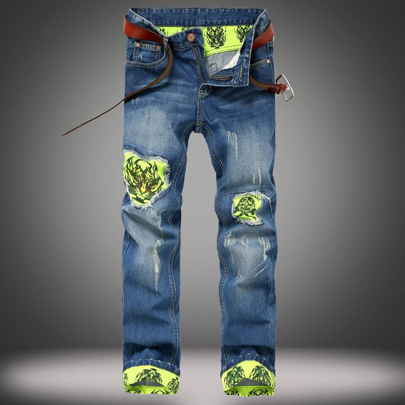 Famous Brand Biker Jeans Men designer Casual Hole Ripped Jeans Mens Fashion Tiger Patchwork Design Green Cuffs Distressed Jeans fashion mens brand ripped jeans 100% cotton famous brand designer mens jeans patchwork mens distressed patchwork jeans q1730