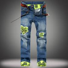 Famous Brand Biker Jeans Men designer Casual Hole Ripped Jeans Mens Fashion Tiger Patchwork Design Green Cuffs Distressed Jeans