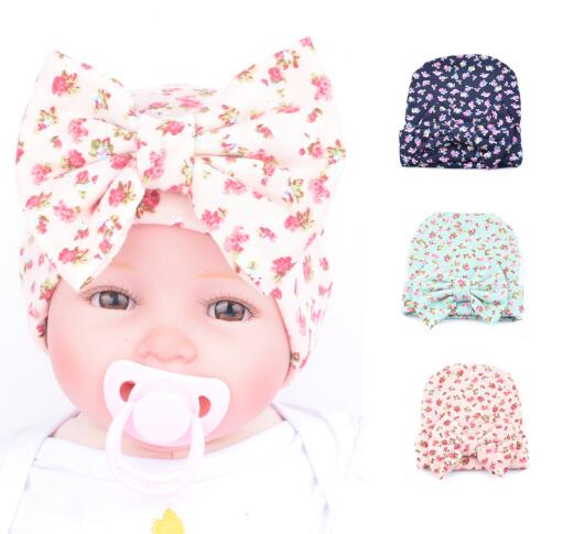 0004d4b1b31 Free Shipping!2017 New Hospital Newborn Hat Baby Girl Beanie With Floral  Big Bowknot Newborn Knit Infant Caps Baby Toddler Hat