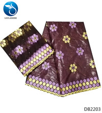 LIULANZHI basin riche fabric getzner african bazin maroon color guinea brocade styles cotton for dress 5+2yards/lot DB22