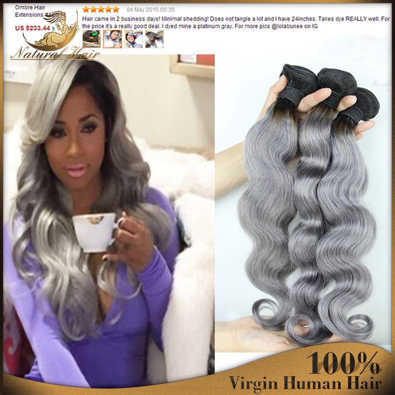 New Hairstyle T1bgray Ombre Two Toned Brazilian Virgin Hair With