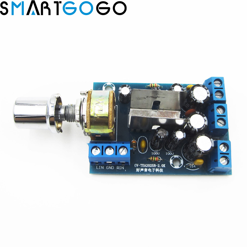 US $1 92 40% OFF|TEA2025B 2 0 Stereo TWO Double Dual Channel Mini Audio  Amplifier Board Module For PC Speaker 3W+3W 5V 9V 12V-in MP3 Players &