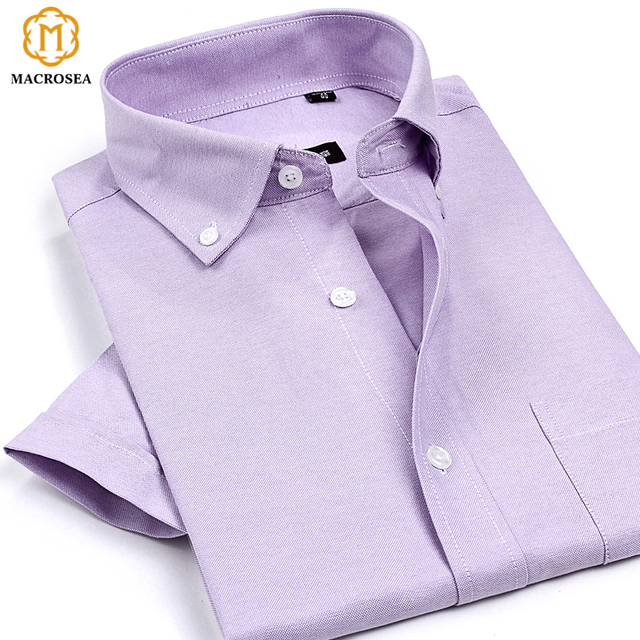 bb7e74fc041 Summer Style New Arrival High Quality Men s Non-Iron Oxford Shirts Solid  Color Short Sleeve