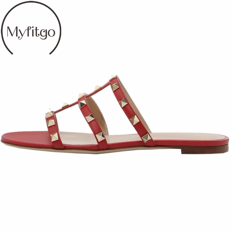 Myfitgo Rivet Women Slippers Summer Sandals Solid Flat with PU Leather Female Shoes Outside Studs Slides