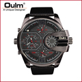 Brand Oulm HP3790 Man Watch Quartz Sports Men Leather Strap Watches Fashion Military  Male  Wristwatch Running Cool Clock
