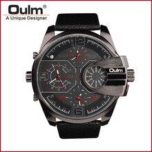 Marca Oulm HP3790 Homem Relógio De Quartzo Homens Esportes Relógios Pulseira de Couro Moda Relógio Militar Masculino Relógio de Pulso Funcionando Legal