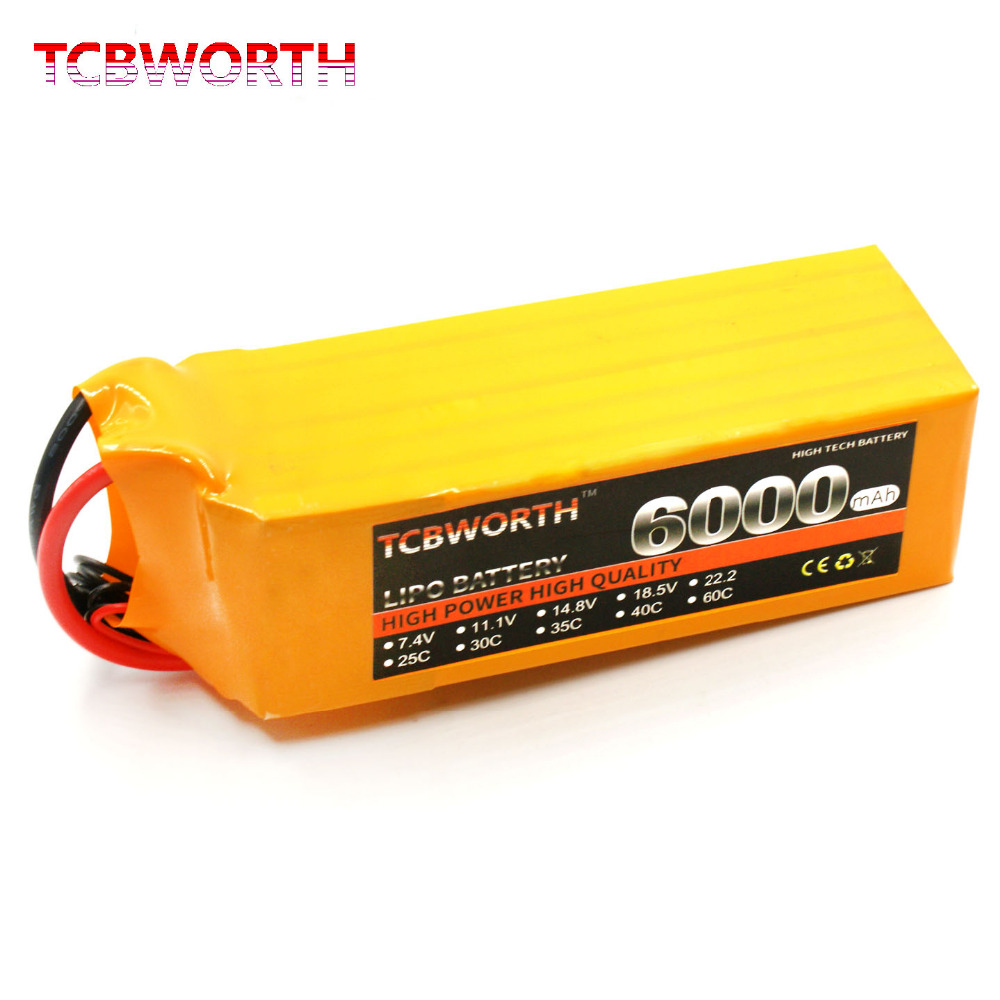 TCBWORTH RC Lithium polymer  battery  4S 14.8V 6000mAh 60C MAX 120C For RC Airplane Quadrotor Helicopter Drone Li-ion battery 511743p rushed five drill special polymer lithium battery factory outlet