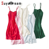 100% REAL silk nightgowns women Sexy Spaghetti Strap sleepdress Solid SATIN nightdress nightie Summer style pink white black