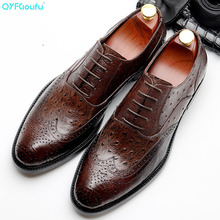 QYFCIOUFU Vintage Genuine Leather Formal Brogue Shoes Men Pointed Toe Lace-up Dress Brand Oxford For