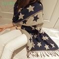 Женское пончо из кашемира и шерсти со звездным принтом. Зимний шарф.