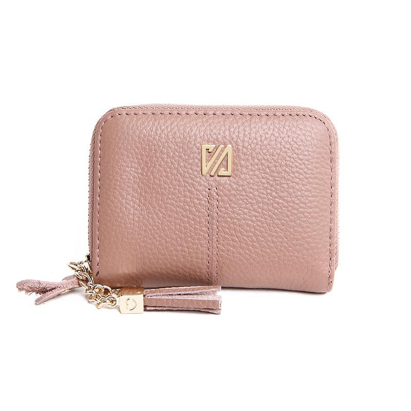 Small Tassel Genuine Leather Women Card Holders Multi-function Women Card Wallet Zipper Leather Business Credit Card Holders 2018 new fashion unisex credit card holders genuine leather multi pvc card slots metal hasp business card id holders cow leather