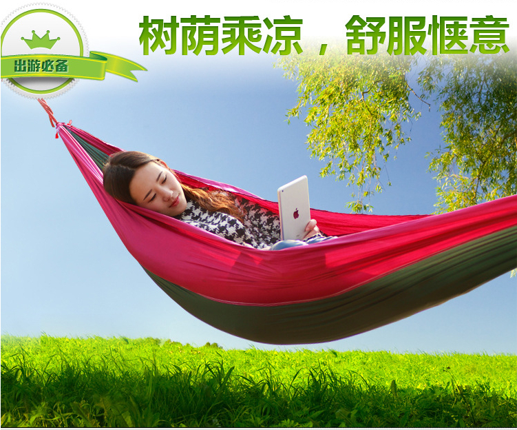 High Quality Hold Up Double Hammock Camping Survival Hammock Parachute Cloth Outdoor Or Indoor 260*130cm