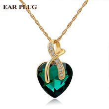 Austrian Crystal Heart Pendants Necklaces For Women Classic Gold Plated Statement Necklace Ethnic Jewelry Green Maxi Bijouterie