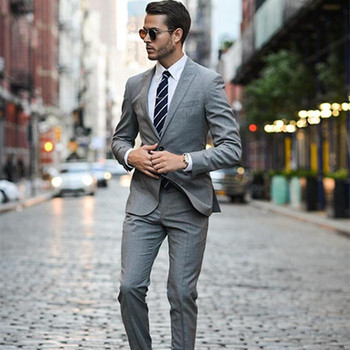 Light Grey Man Suit For Wedding Fashion Two Pieces Wedding Suit For Groom Custom Made Groomsman Wear (Jacket+Pants)