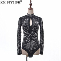 2019 Spring New Sexy Chest Hollow Out Heavy Duty Bodysuits Beads Pearls Hot Drill High Collar Long Sleeve Women Jumpsuit