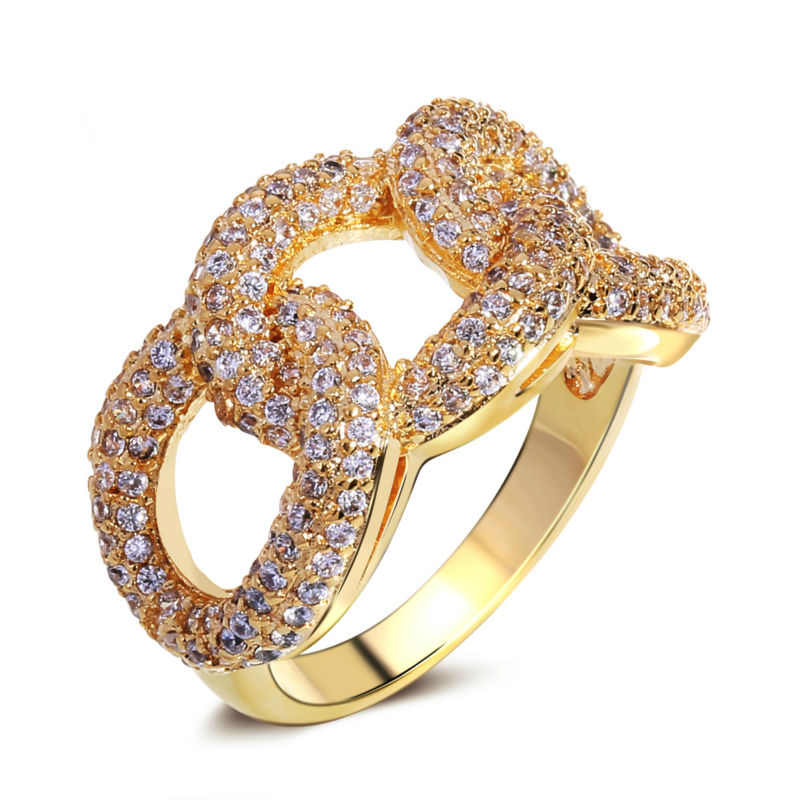 67212e381 Women Rings'Secret Classic Linked Chain Design Luxury AAA Cubic Zircon  Setting Free Allergy 18K Gold Plated Bridal Wedding Ring