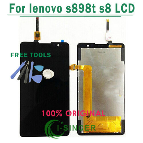 1/PCS Free tools LCD Screen For lenovo s898t s8 With Touch display Digitizer Assembly replacement Free Shipping