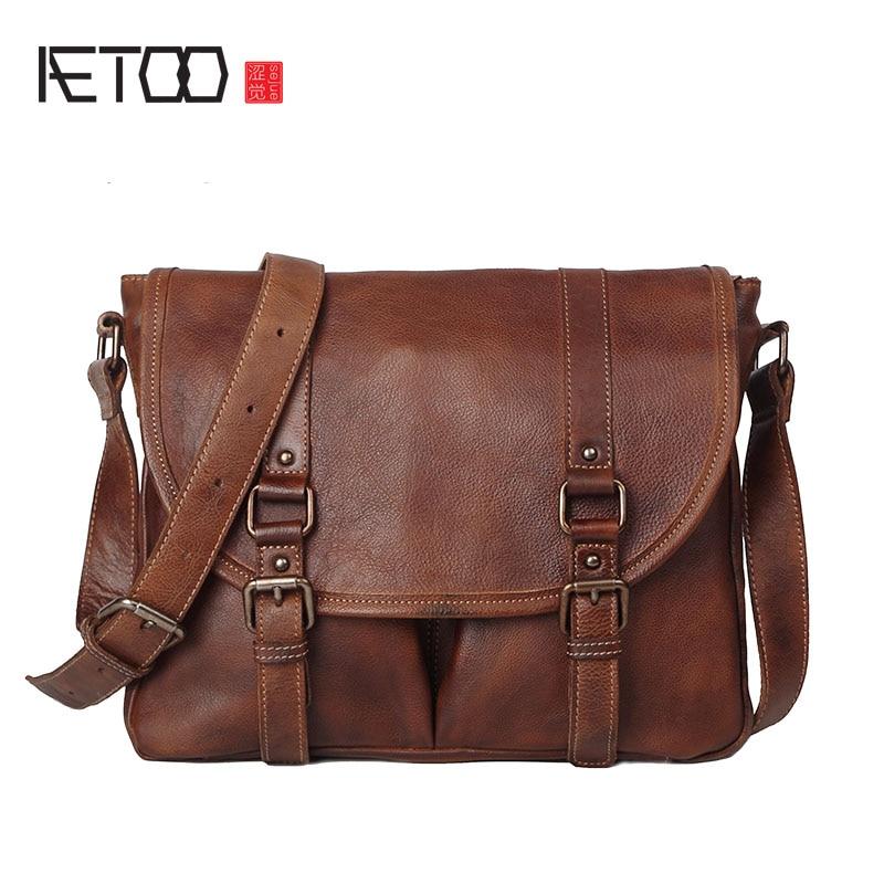 AETOO Rétro à faire le vieux planté tannage cowboy hommes sac d'épaule de Messager main en cuir d'origine Britannique postman paquet