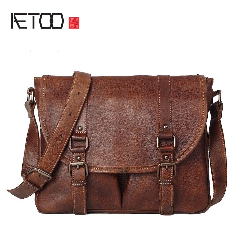 AETOO Retro to do the old planted tannage cowboy men bag shoulder Messenger handmade original leather British postman package crazy for the cowboy