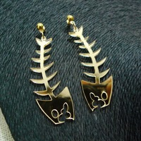 Hip Hop Fish Bones Gold Acrylic Stud Earrings